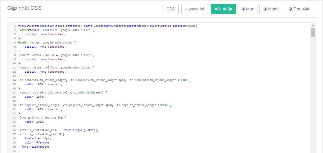 Chỉnh sửa CSS và Javascript