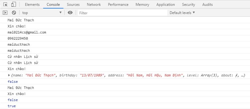 Kết quả thực thi tập tin object.js