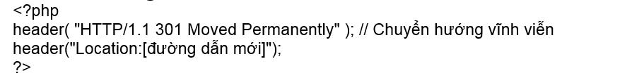 Chuyển hướng 301 sử dụng ngôn ngữ kịch bản PHP