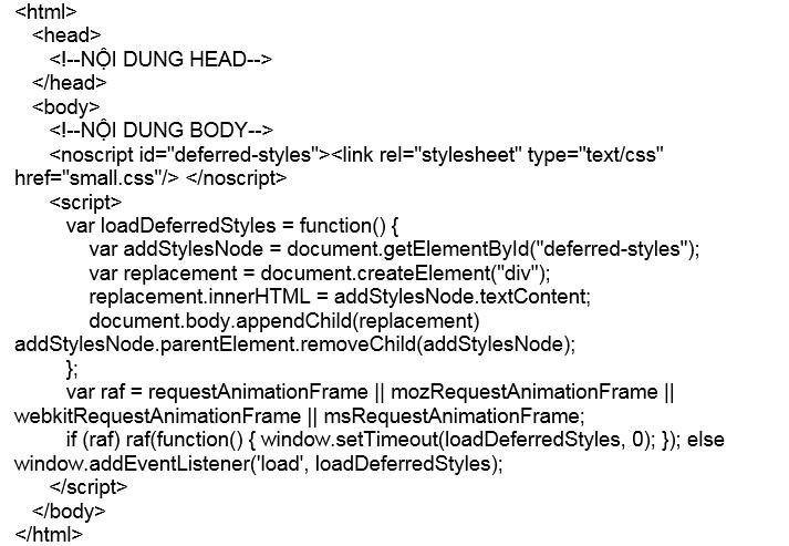Tối ưu hóa CSS sử dụng Ajax